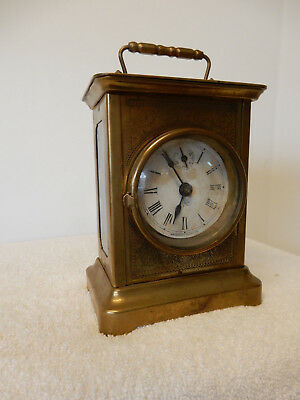 Waterbury Antique Carriage Double Bell Alarm Mantle Clock W/ Key