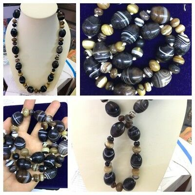 ancient roman Agate Black Sulimai Beads Necklace With Beautiful Design