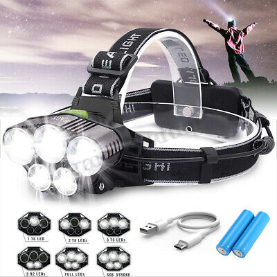 90000LM T6 5x LED Headlamp Rechargeable Headlight Torch Lamp+2x18650+USB Cable