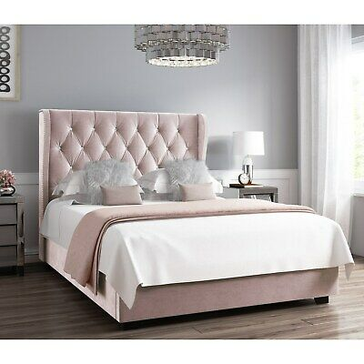 Phenomenal Safina Button Wing Back Double Ottoman Bed In Light Pink Theyellowbook Wood Chair Design Ideas Theyellowbookinfo