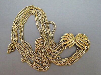 VTG Couture Trifari Necklace Mult Chain Gold Plated Designer Fancy Leaf Catch