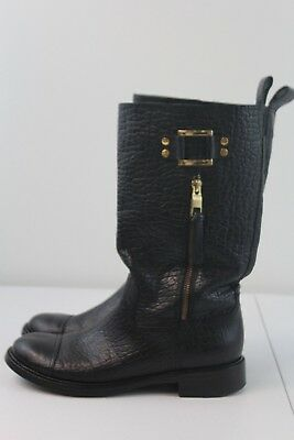 b3e7918918fc Tory Burch Stowe Moto Black Pebbled Leather Mid Calf Boots Size 8 1 2  Women s