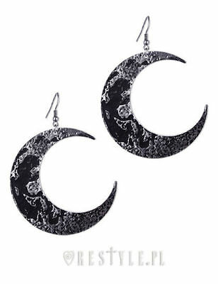 Restyle Black Raven Claws Tibia Bones Moon Crescent Occult Witch Drop Earrings