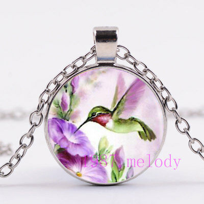 Vintage jewelry Cabochon Glass silver Necklace pendants:Green hummingbird flower