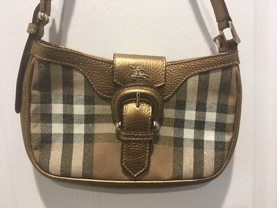 9224756926d8 Authentic Burberry Sparkle Plaid Canvas Leather Small Shoulder Bag