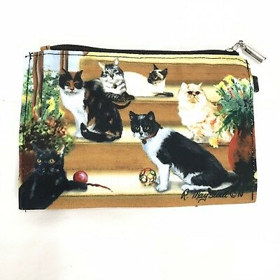 New Cat Zippered Pouch By Ruth Maystead 6 Cats Coin Purse Feline Cat Lover