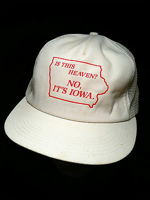 VTG - Is This Heaven?  No, It's Iowa-Field of Dreams-Baseball Cap/Hat-STATE MAP