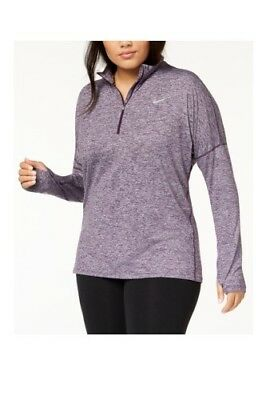 b37a60a7251 Nike Womens Dry Element Half Zip Running Top Purple Heather Plus Size 1X   65 NWT