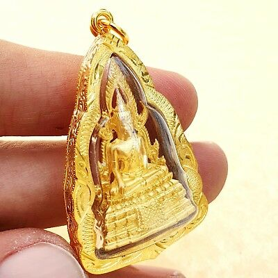 PRA PUTHA SHINARAJ GOLD THAI BUDDHA Amulet Brass Luck Holy Health Pendant Case