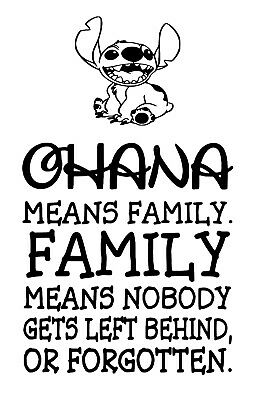 Ohana Means Family Wine Bottle Decal / Sticker (bottle not included)