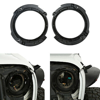 2Pcs Black Replacement Headlight Brackets Ring for Jeep Wrangler JK 2007-2018