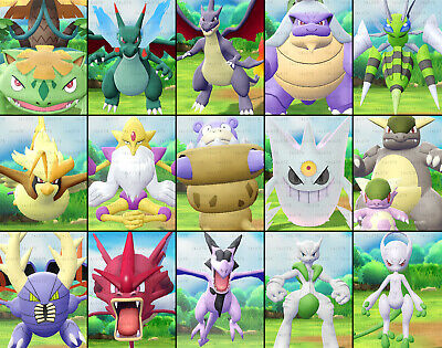 Pokemon Lets Go Pikachu & Eevee - All *15* Shiny Mega-Pokemon Set - 6IV/Max AV