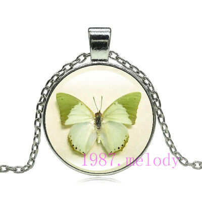Vintage jewelry Cabochon Glass silver Necklace pendants:fantasy green butterfly