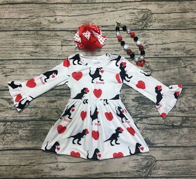 Valentine Dinosaur Toddler Kids Baby Girl Princess Long Sleeve Dress Clothes USA