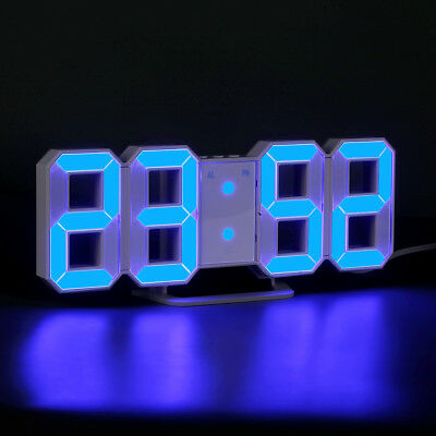 New Digital LED Numbers Wall Clock Alarm Snooze Dimmable 12/24 Hour Display USB