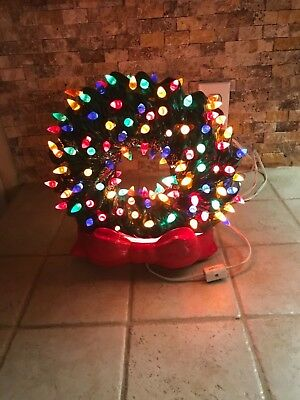 """Vintage Ceramic 12"""" Wreath Heavily Lighted Green 2 Piece With Red Bow Base NICE!"""