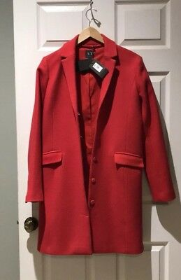 Armani Exchange Long Red Womens Coat Sz Med NWT