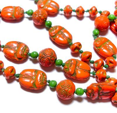 Antique Neiger Scarab Beetle Egyptian Revival Orange Czech Glass Necklace Beads
