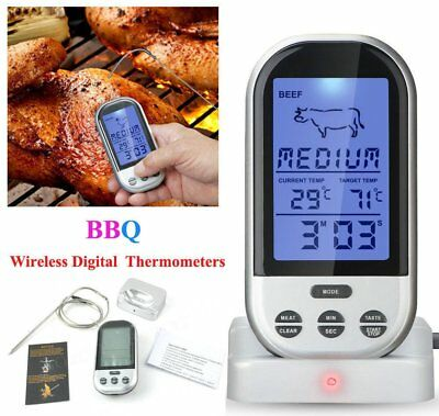 Digital Wireless Remote BBQ LCD Meat Thermometer Grill Kitchen Cooking Prob F1