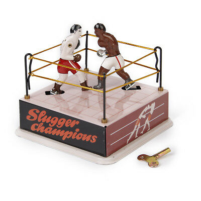 Classic Boxing Ring Boxers Tin Toy Collectible w/ Wind-Up Key