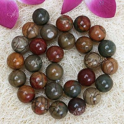 "1 Strand 14mm Round Picasso Jasper Gemstone Loose Beads Fit Jewelry DIY 15.5""LFQ"