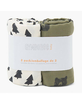 NWT Gymboree Bear Tree Print Muslin Cotton Swaddle Blankets 2 Pack Baby Boy
