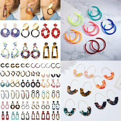 Boho Geometric Dangle Drop Hook Acrylic Resin Ear Stud Earrings Jewellery Gift