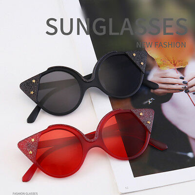 Women Sunglasses Retro Cat Eye Shades Ladies Colorful Lens Eyewear Glasses UV400