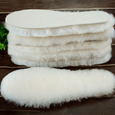 Sheepskin Thick Insoles Winter Warm Genuine Wool Fur Leather Shoe Inner Insole