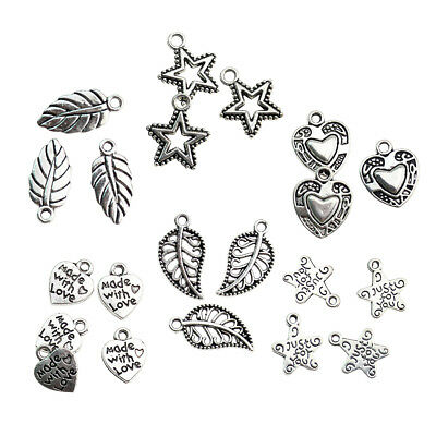 50Pcs Heart Leaf Star Charm Pendant Beads Jewelry Necklace DIY Making Craft