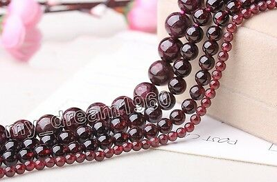"Genuine 4/6/8/10mm Natural Dark Red Garnet Round Gemstone Loose Beads 15"" AAA"