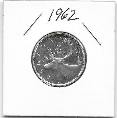 1962 Canadian 25 Cent Quarter Silver Very Nice (Unc)