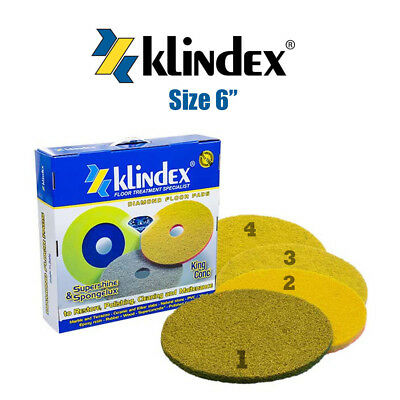 Klindex Diamant Fußboden Pad System Supershine Weich Set Stage 1, 2, 3 & 1/4-6""
