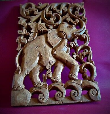 Lovely Elephant One Piece Wood Carving