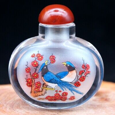 Chinese Collectible Handmade inside painted Flower and bird glass snuff bottle 2