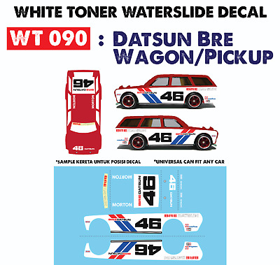 WT090 White Toner Waterslide Decals> DATSU BRE WAGON>For Custom 1:64 Hot Wheels