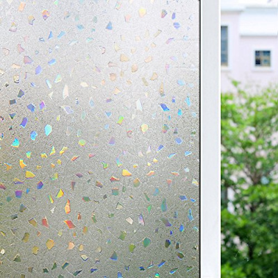 3D Frosted Decorative Window Film No Glue Decal Glass Film Anti UV 17.7x78.7''