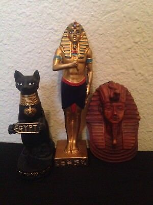 Ancient Egyptian King Ramses II two status and god cat 4lb