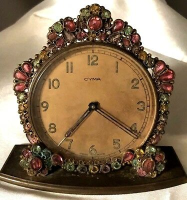 Rare Robert Signed Vintage Rhinestone Framed Cima Swiss Watch Co Alarm Clock