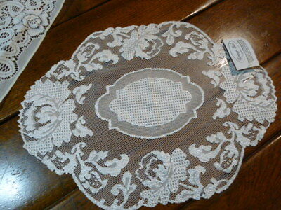 New Heritage Lace Vintage Floral Lace Doily - NOS Beige Lace Table Runner Scarf