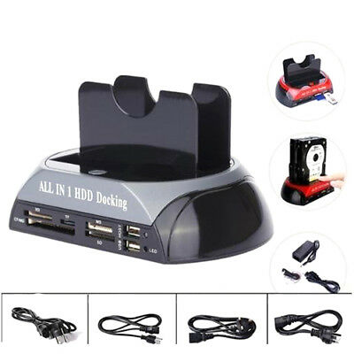"New 2.5"" 3.5""Dual Hard Drive HDD Docking Station USB Dock Card Reader IDE SATA"