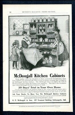 1906 McDougall Kitchen Cabinet Ad   Daughters Help Mother ~ Indianapolis