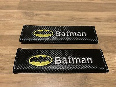 2XSeat Belt Pads Carbon Present The Batman Bat Man Superhero Game Movie Toy Kids
