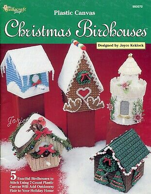 Christmas Birdhouses.Christmas Birdhouses Ice Gingerbread More Plastic Canvas Pattern Booklet New