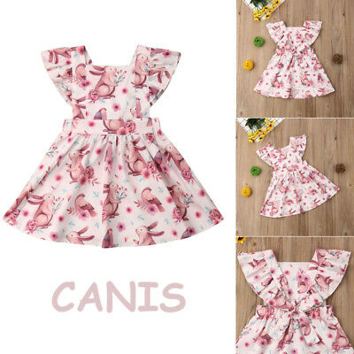 USA Toddler Baby Girl Cute Bunny Rabbit Print Dress Easter Party Clothes Outfits