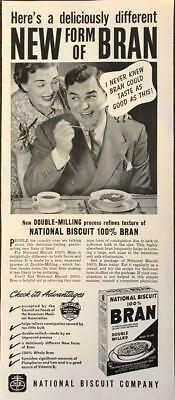 ORIGINAL 1940 National Biscuit Company 100% Bran Double Milled Cereal Ad Nabisco