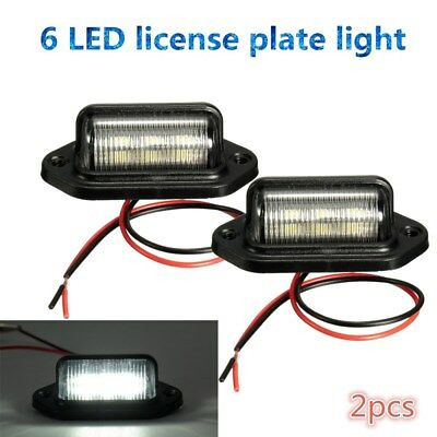 2x 6LED 12V License Number Plate Light Tail Rear Lamp For Truck Trailer Lorry AU