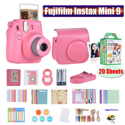 Fujifilm Instax Mini 9 Instant Camera+14in1 Cam Accessories+20 Sheets Film G8R7