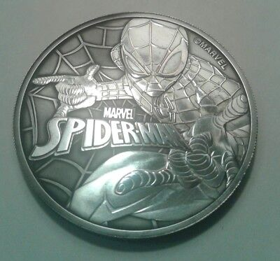 2017 Tuvalu marvel spiderman 1oz silver coin , awesome black toning