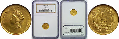 1855 $1 Gold Coin NGC AU-58